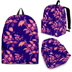 Purple Tropical Hawaiian Pattern Print Backpack GearFrost