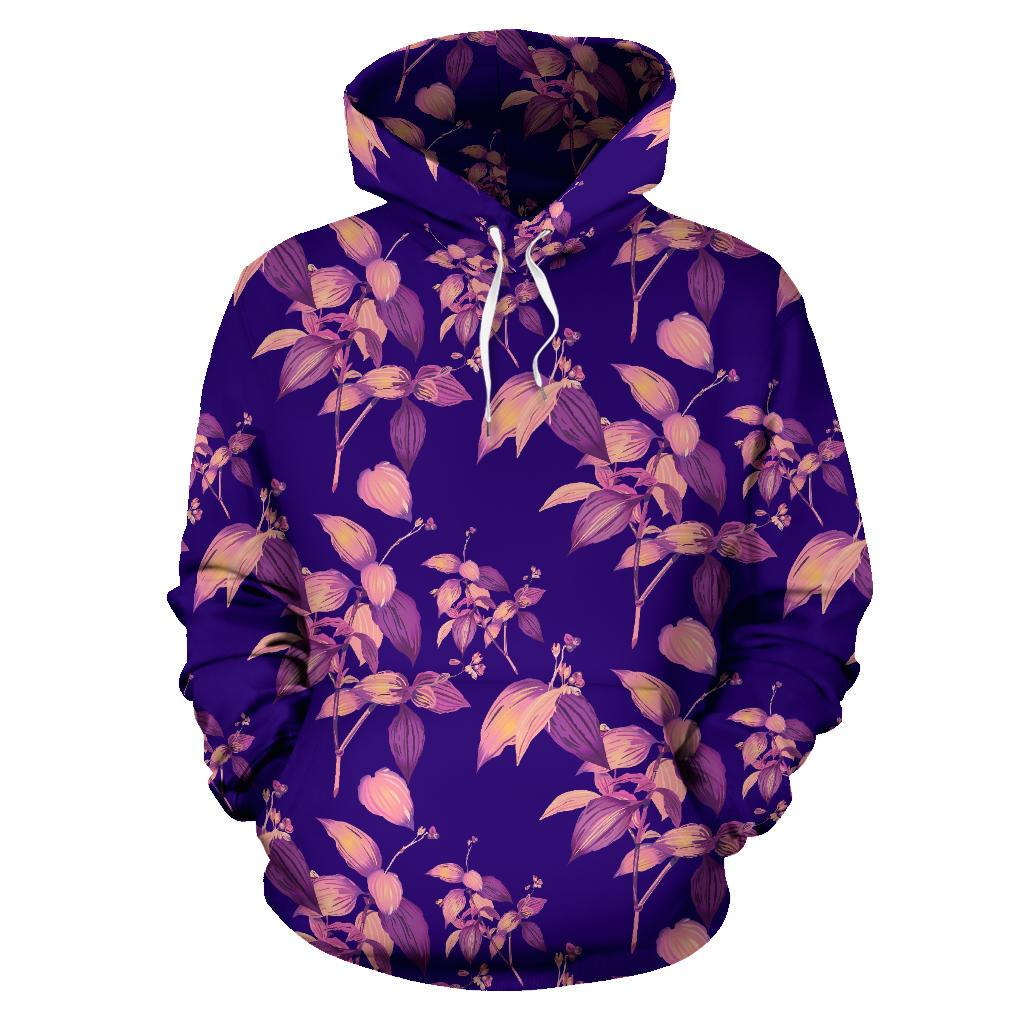 Purple Tropical Hawaiian Pattern Print Pullover Hoodie GearFrost