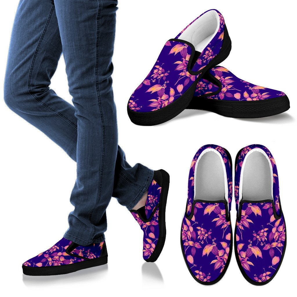 Purple Tropical Hawaiian Pattern Print Women's Slip On Shoes GearFrost