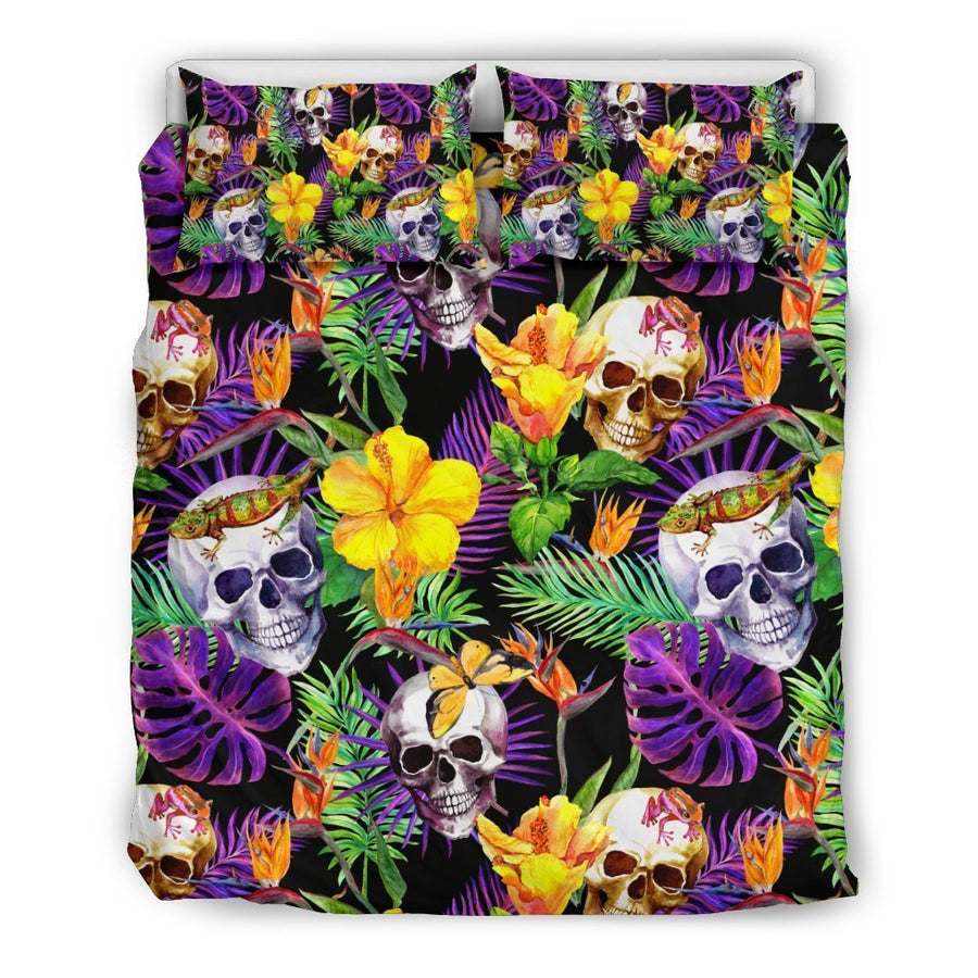 Purple Tropical Skull Pattern Print Duvet Cover Bedding Set GearFrost