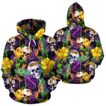 Purple Tropical Skull Pattern Print Pullover Hoodie GearFrost