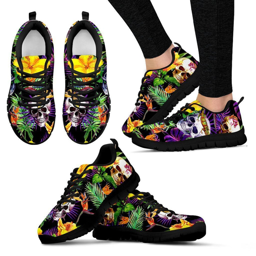 Purple Tropical Skull Pattern Print Women's Sneakers GearFrost