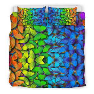 Rainbow Butterfly Pattern Print Duvet Cover Bedding Set GearFrost