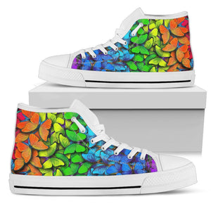 Rainbow Butterfly Pattern Print Men's High Top Shoes GearFrost