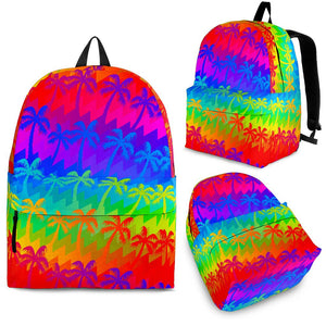 Rainbow Palm Tree Pattern Print Backpack GearFrost