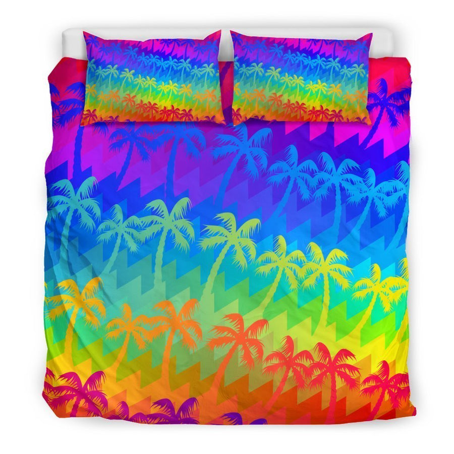 Rainbow Palm Tree Pattern Print Duvet Cover Bedding Set GearFrost