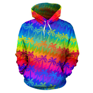 Rainbow Palm Tree Pattern Print Pullover Hoodie GearFrost