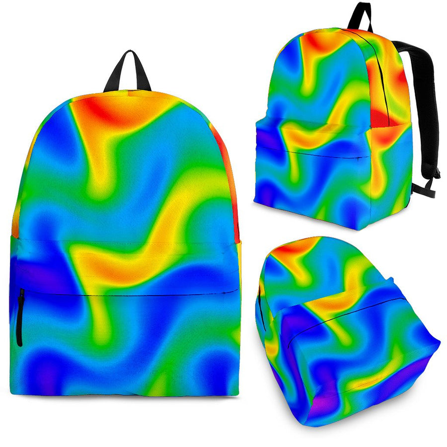 Rainbow Psychedelic Trippy Print Backpack GearFrost