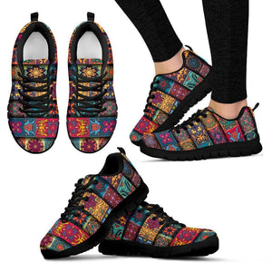Rectangle Mandala Bohemian Pattern Print Women's Sneakers GearFrost