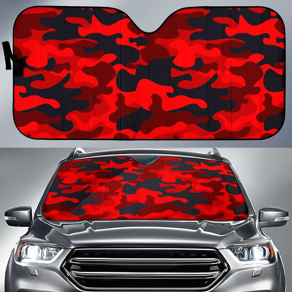 Red And Black Camouflage Print Car Sun Shade GearFrost