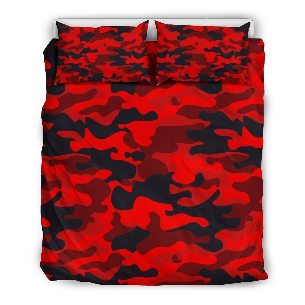 Red And Black Camouflage Print Duvet Cover Bedding Set GearFrost