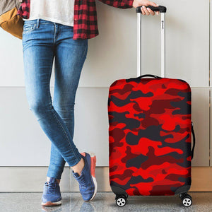Red And Black Camouflage Print Luggage Cover GearFrost