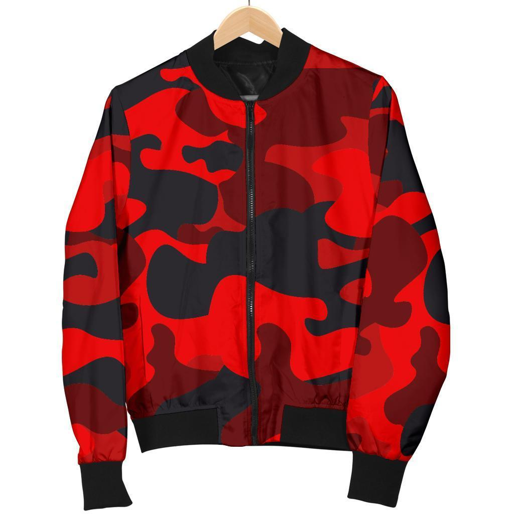 Red And Black Camouflage Print Men's Bomber Jacket GearFrost