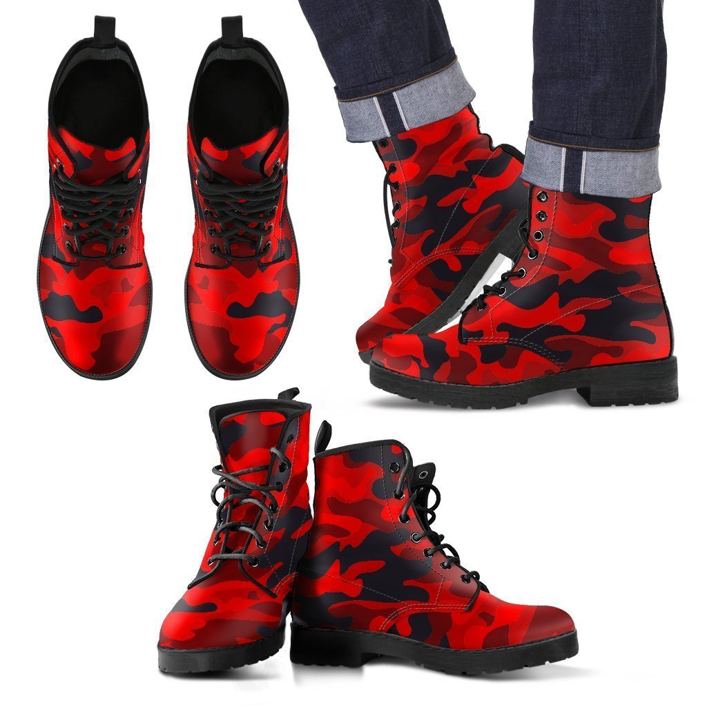 Red And Black Camouflage Print Men's Boots GearFrost