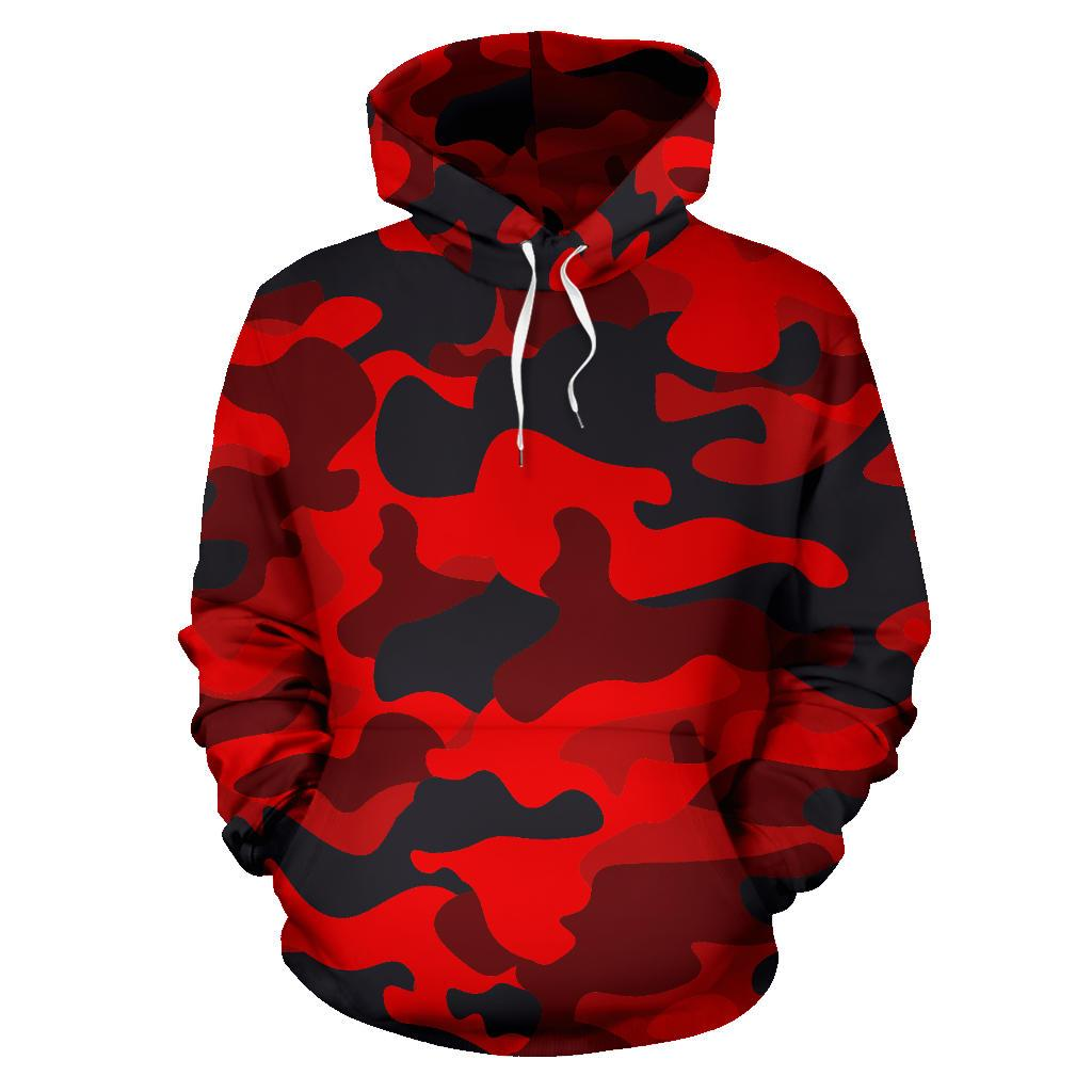 Red And Black Camouflage Print Pullover Hoodie GearFrost