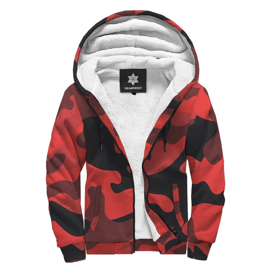 Red And Black Camouflage Print Sherpa Lined Fleece Hoodie GearFrost