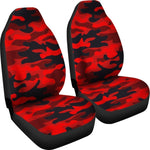 Red And Black Camouflage Print Universal Fit Car Seat Covers GearFrost
