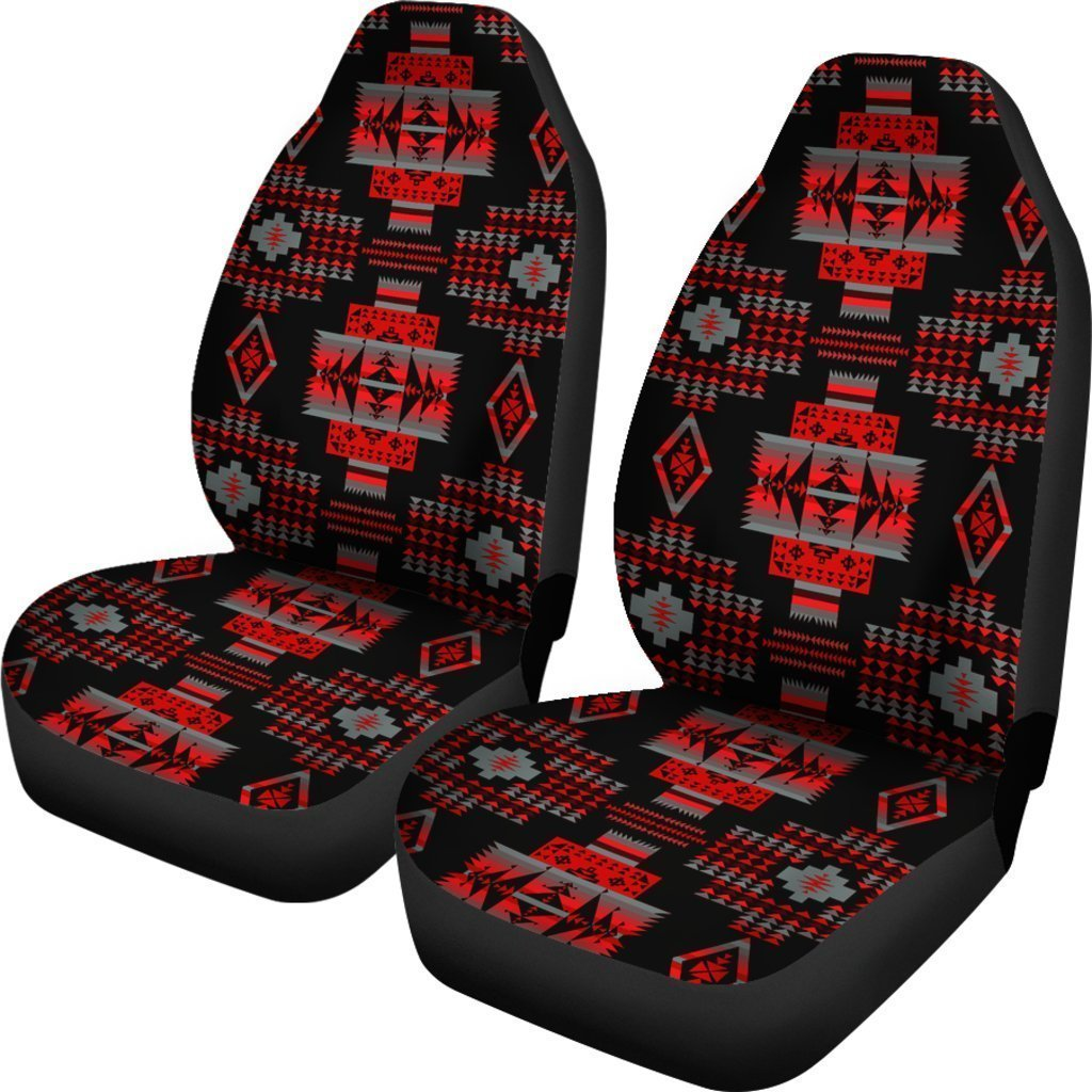 Red And Black Native Tribal Universal Fit Car Seat Covers GearFrost