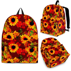 Red Autumn Sunflower Pattern Print Backpack GearFrost
