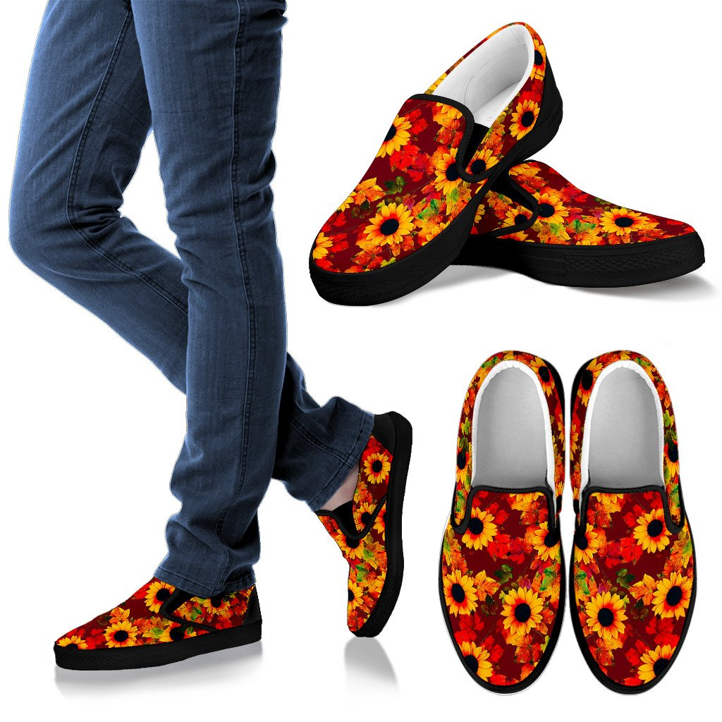Red Autumn Sunflower Pattern Print Women's Slip On Shoes GearFrost