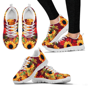 Red Autumn Sunflower Pattern Print Women's Sneakers GearFrost