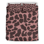 Red Brown Cow Print Duvet Cover Bedding Set GearFrost