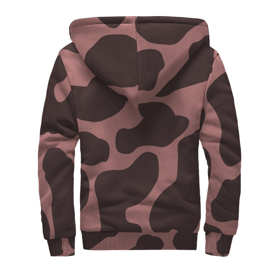 Red Brown Cow Print Sherpa Lined Fleece Hoodie GearFrost