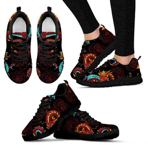 Red Dragon Lotus Pattern Print Women's Sneakers GearFrost