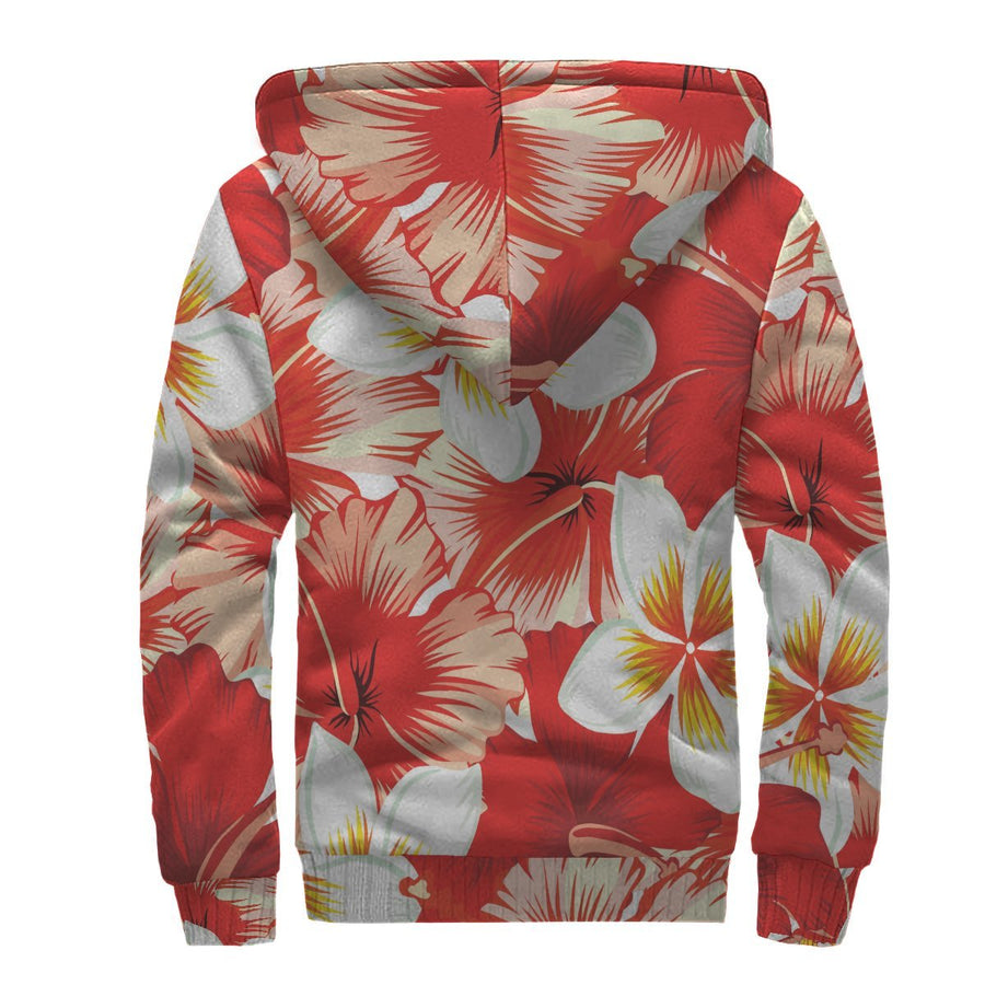 Red Hibiscus Plumeria Pattern Print Sherpa Lined Fleece Hoodie GearFrost