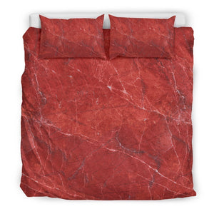 Red Marble Print Duvet Cover Bedding Set GearFrost