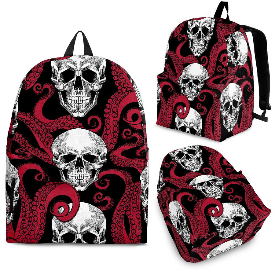 Red Octopus Skull Pattern Print Backpack GearFrost