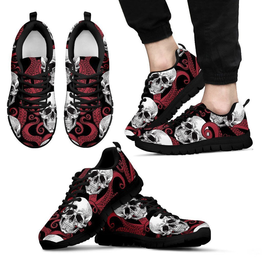 Red Octopus Skull Pattern Print Men's Sneakers GearFrost