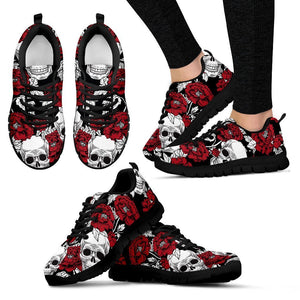 Red Peony Skull Pattern Print Women's Sneakers GearFrost
