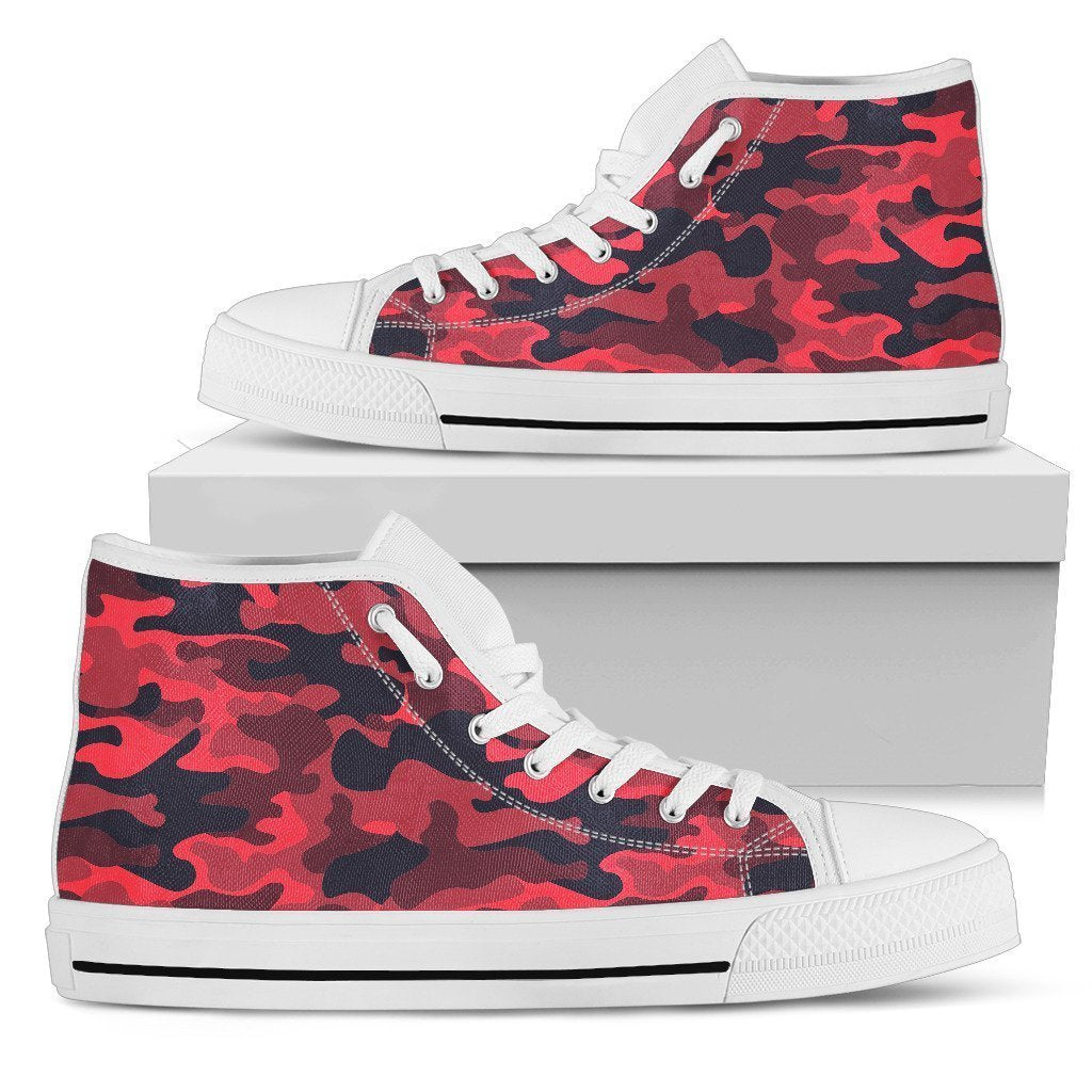 2dfe5280d62c7 Red Pink And Black Camouflage Print Men's High Top Shoes – GearFrost