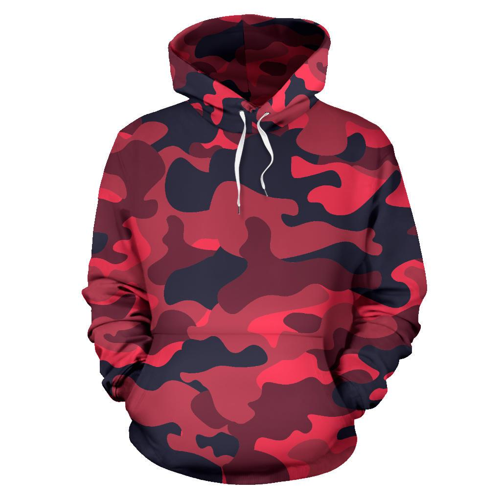 Red Pink And Black Camouflage Print Pullover Hoodie GearFrost