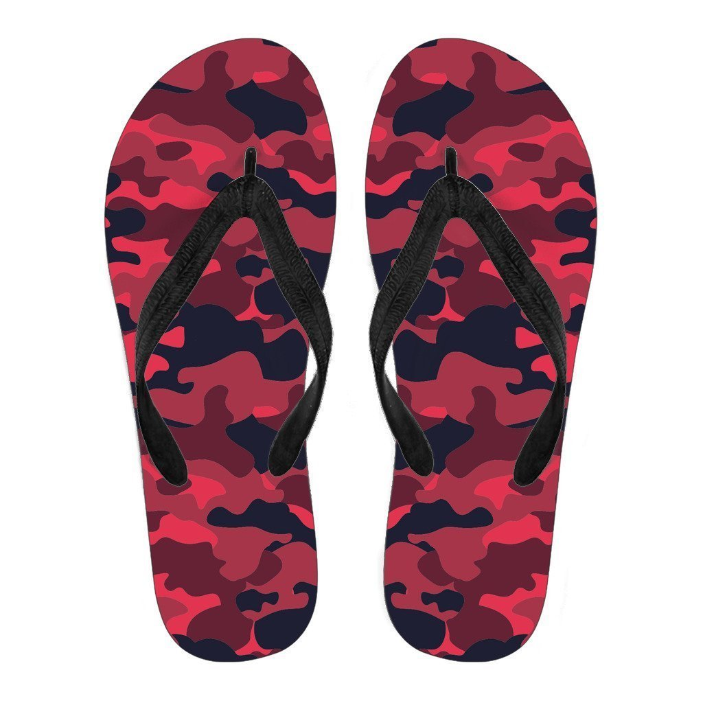 Red Pink And Black Camouflage Print Women's Flip Flops GearFrost