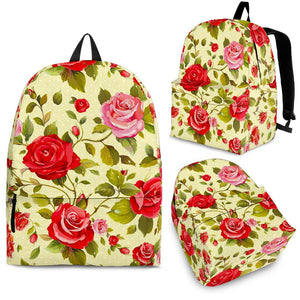 Red Pink Rose Floral Pattern Print Backpack GearFrost