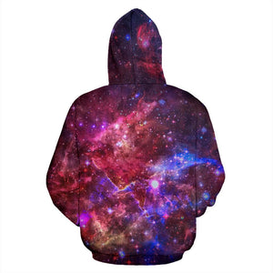 Red Purple Nebula Galaxy Space Print Pullover Hoodie GearFrost