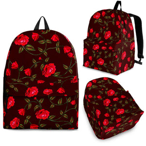 Red Rose Floral Flower Pattern Print Backpack GearFrost