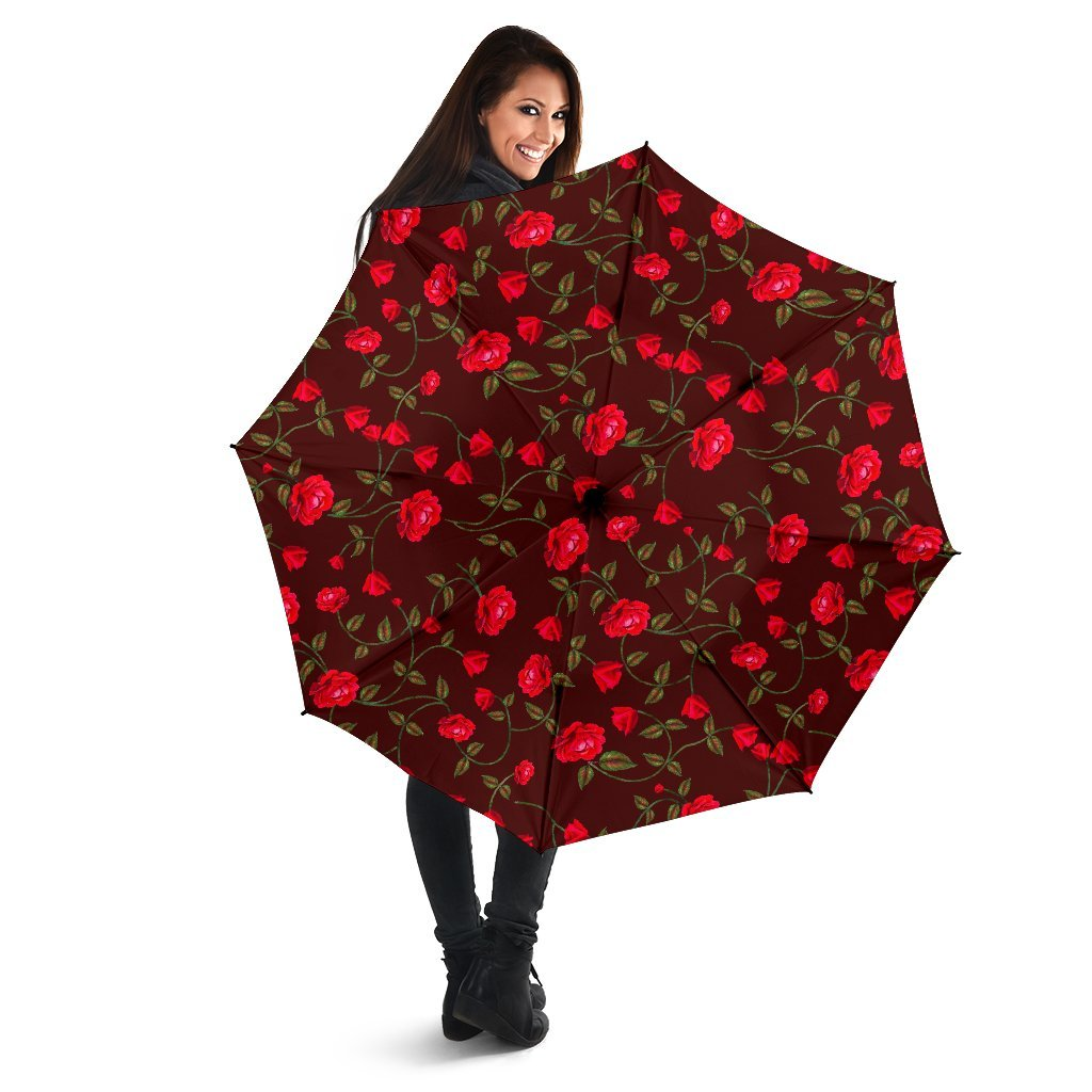 Red Rose Floral Flower Pattern Print Foldable Umbrella GearFrost