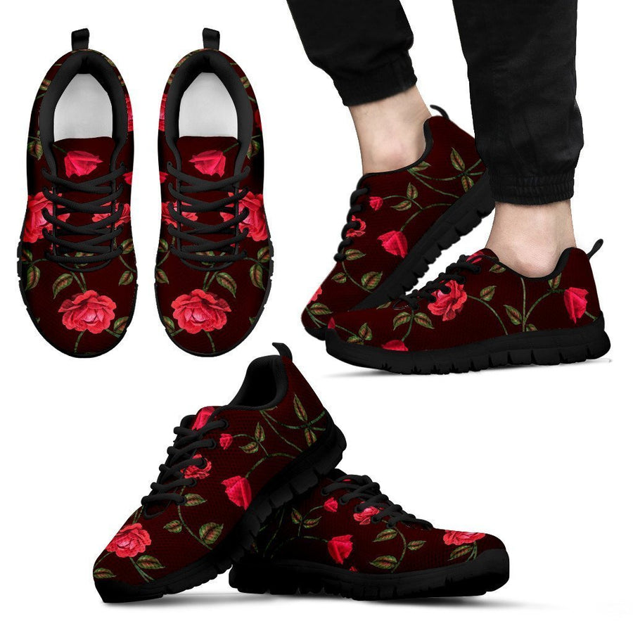 Red Rose Floral Flower Pattern Print Men's Sneakers GearFrost