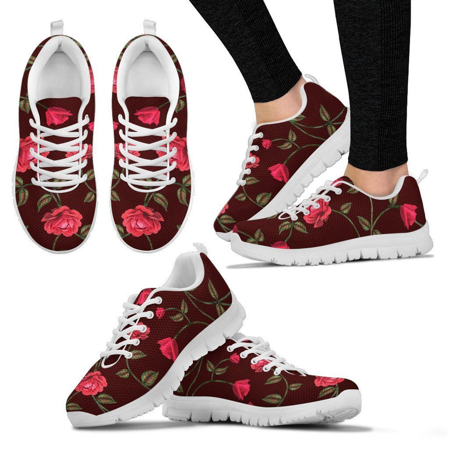 Red Rose Floral Flower Pattern Print Women's Sneakers GearFrost