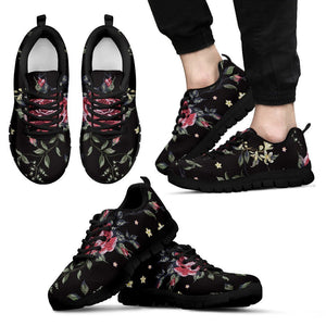 Red Rose Floral Pattern Print Men's Sneakers GearFrost