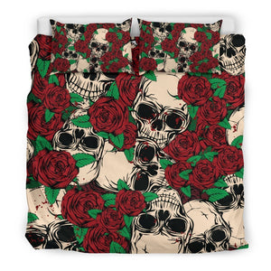 Red Rose Skull Pattern Print Duvet Cover Bedding Set GearFrost