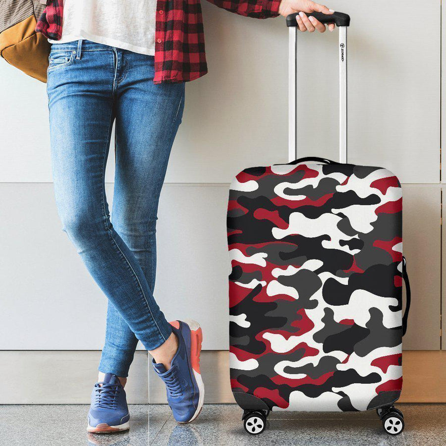 Red Snow Camouflage Print Luggage Cover GearFrost