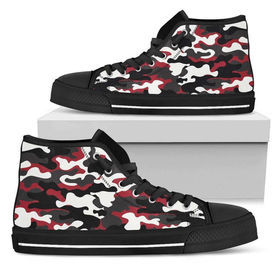 Red Snow Camouflage Print Men's High Top Shoes GearFrost