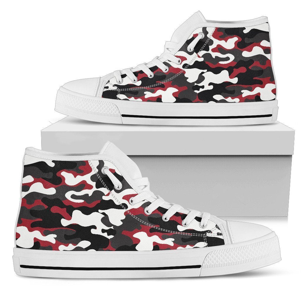14d5773cc2f38 Red Snow Camouflage Print Women's High Top Shoes – GearFrost