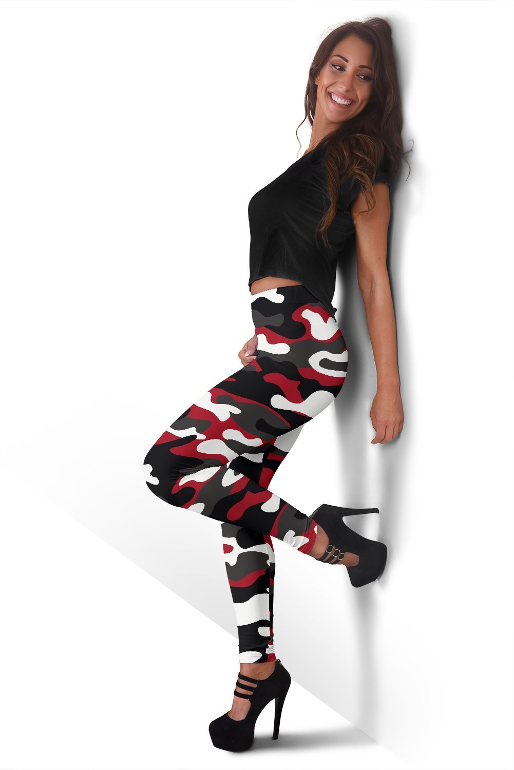 01055c1a3294e Red Snow Camouflage Print Women's Leggings GearFrost. Product image 1 ...
