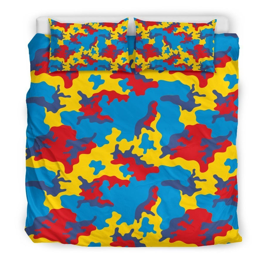 Red Yellow And Blue Camouflage Print Duvet Cover Bedding Set GearFrost
