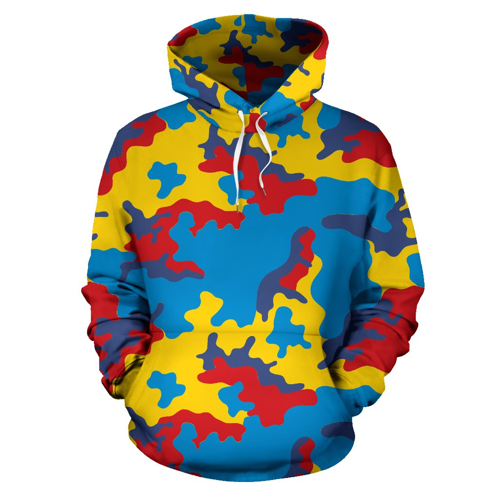 Red Yellow And Blue Camouflage Print Pullover Hoodie GearFrost